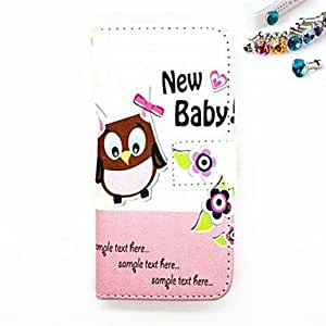 QHY The Dustproof Plug and The Owl and Flowers Pattern PU Leather Full Body Case with Card Slot and Stand for iPhone 5/5s