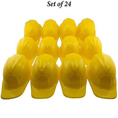 Adorox 24pcs Yellow Construction Soft Plastic Child Hat Helmet Costume Birthday Party Favor Kids Hard Cap Halloween Toy (24 Yellow (Childrens Hard Hats)