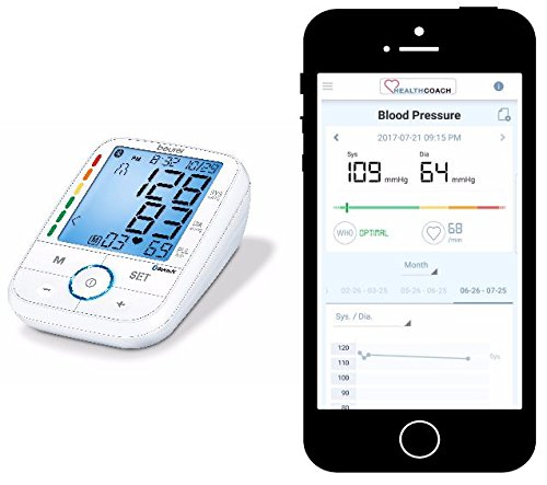 Beurer Upper Arm Pressure Connects through Bluetooth to Smartphone, Detects Pressure with Illuminated Display,