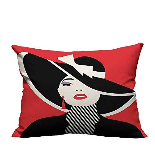 alsohome Lovely Cushion Covers French Style Icon in Shabby Chic Classical Vintage Hat and Striped Coat Design Durable Cotton Linen20x35.5 inch(Double-Sided Printing)