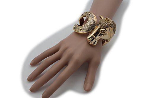 Pigsy Fancy Dress Costume (TFJ Women Fashion Jewelry Wrist Gold Metal Wide Cuff Bracelet Western Style Rodeo Horse Horseshoe)