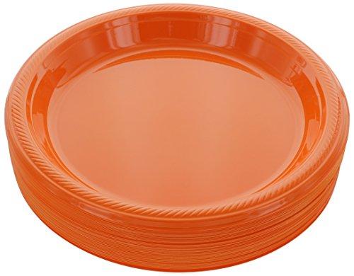 Amcrate Orange Disposable Plastic Party Plates 10.4