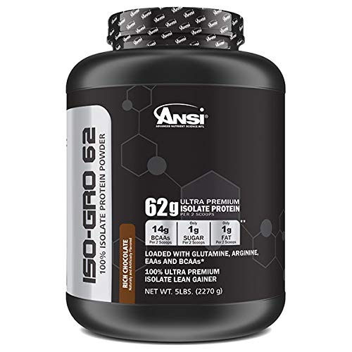 - Ansi Iso-GRO 62 g Ultra Premium Isolate Protein, Rich Chocolate, 5 Pound