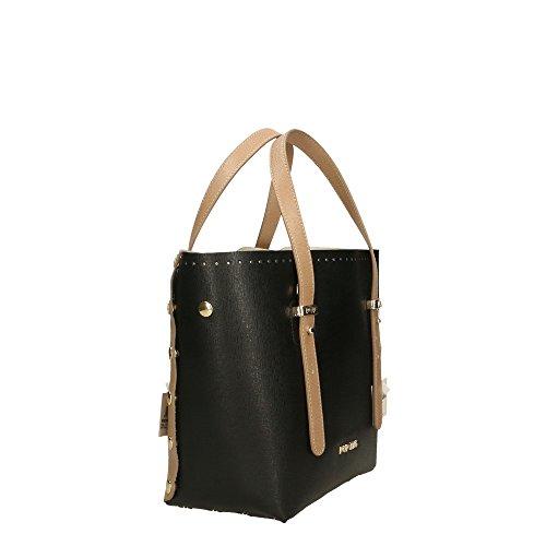 in Italy POP 23x23x12 Bags à main Boue Noir Impression Made en véritable Saffiano Boue Sac Cm femme cuir BvzqB1S