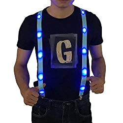 LED Light up Suspenders In Blue Color