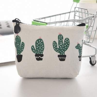 Gimax Coin Purses New Canvas Triangle Cactus Coin Purse Small Fresh Canvas Coin Pocket Color: Four Cacti