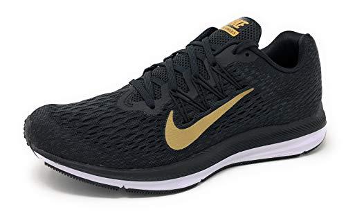 NIKE Women's Air Zoom Winflo 5 Running Shoe, Black/Metallic Gold-Anthracite, 8