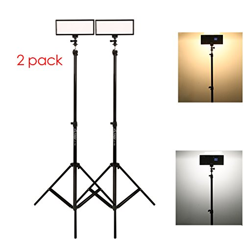 ( 2 pack) VILTROX video lighting kit,L132T LED Light with light Stand, 2m AC adapter, 0.78''/2cm Ultra Thin CRI95 5600K/3300K LED Video Light Dimmable Flat Panel Light by VILTROX