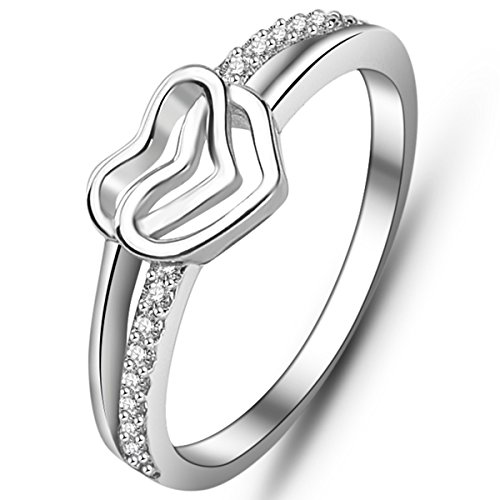 Double Heart Ring (YAN & LEI Sterling Silver CZ Paving Double Heart Infinity Love Promise Ring in Silver US 6.5)