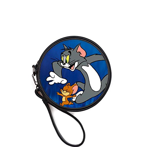 Custom Tom and Jerry Round Makeup Bag Beauty Case Cosmetic - New York Yankees Leather Picture