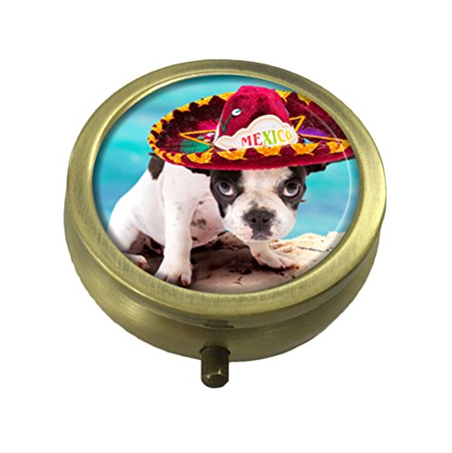 GDEE Dog Bulldog In Mexican Sombrero Custom Fashion Stainless Steel Bronze Pill box Western Tablets Tablet Holder Management Case Pocket or Wallet -