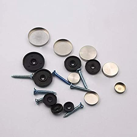 Length : 22mm YJZG 100Pcs//Lot 12mm Diameter Stainless Steel Cap Cover Decorative Mirror Screws Display Mirror
