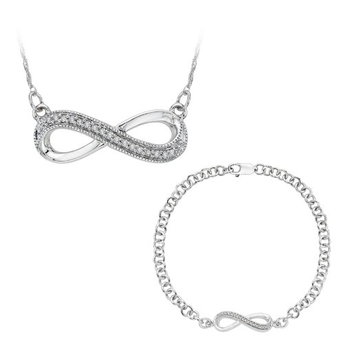 KATARINA Infinity Diamond Bracelet and Pendant Necklace Jewelry Set in Sterling Silver (0.13 cttw)