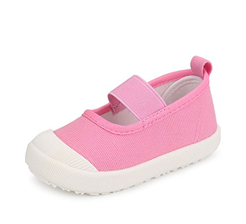 XIPAI Toddler Girls Cute Canvas Shoes Slip-on Casual Lightweight Sneakers Pink ()