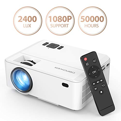Projector, DBPOWER Mini Projector, Upgraded 2400Lux Full HD 1080P with 170