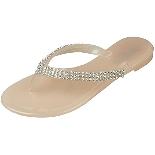 Air Balance Girls Beige Jeweled Bow Tie V-Strap Jelly Sandals