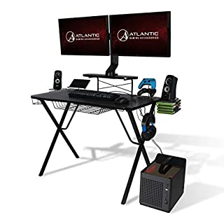 Atlantic Gaming Original Gaming-Desk Pro - Curved-Front, 10 Games, Controller, Headphone & Speaker Storage, 40.25x23.5 inch Curved Front Desktop, Enhanced Larger Design