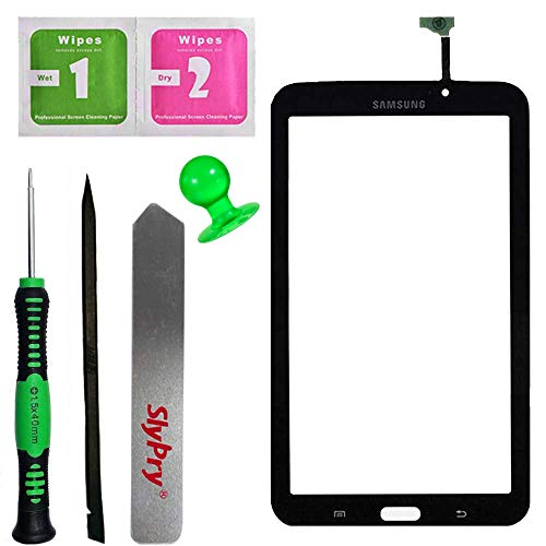 alaxy Tab 3 7.0 P3210 T210 Black Touch Screen Digitizer Panel Glass Replacement Part + PreInstalled Adhesive with SlyPry Tools kit ()