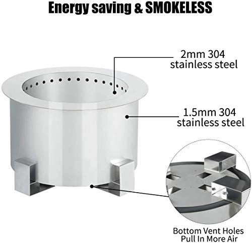 Fire Pits Esright Stove Bonfire Smokeless Wood Fire Pit,21.5 Inch Stainless Steel Outdoor Smokeless Firepit,Wood Burning Firebowl… firepits