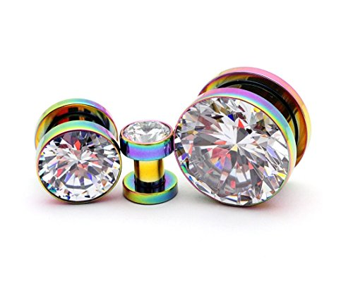 Mystic Metals Body Jewelry 316L Rainbow Stainless Steel Screw on Plugs with Single Press Fit Clear CZ gauges (PS-127) - Sold as a Pair (5/8