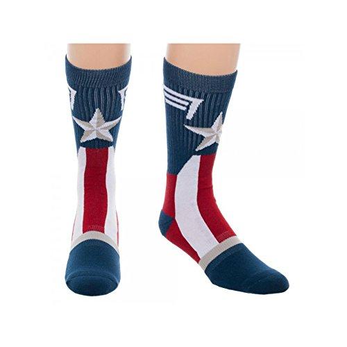 Thor Mens Socks (Super Hero Marvel Comics Captain America Suit Up Crew Socks By Superheroes, size 10-13)