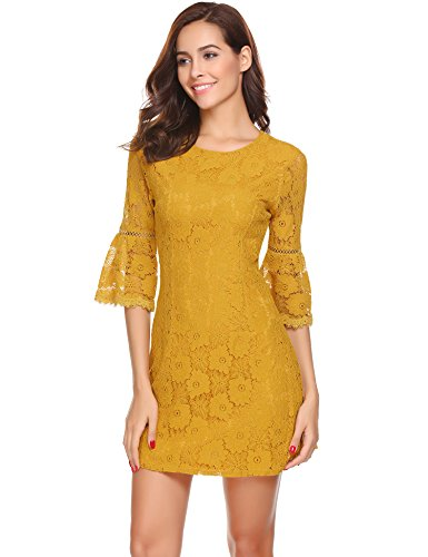 Lace Bell Mini Line Dress Dark Sleeve FineFolk 3 improved Flare 4 Women's A Cocktail Yellow Floral Party Yxg7EwqFnB
