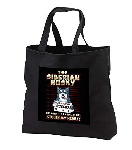 - 3dRose Sven Herkenrath Dog - This Siberian Husky Stolen My Heart Dog - Black Tote Bag JUMBO 20w x 15h x 5d (tb_316711_3)