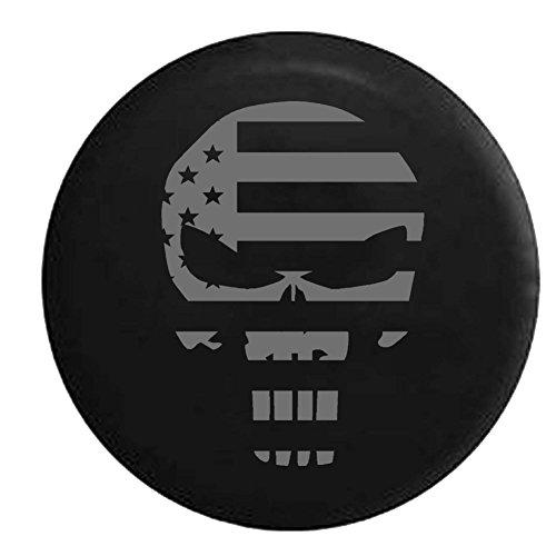 atriot Flag Punisher Skull Spare Tire Cover Vinyl Black 33 in ()