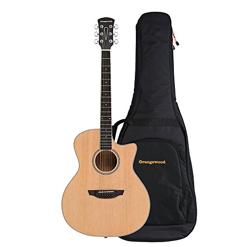 Orangewood Rey Grand Auditorium Cutaway Acoustic Guitar with Spruce Top, Ernie Ball Earthwood Strings, and Premium Padded Gig Bag (Auditorium 12 String Acoustic Guitar)