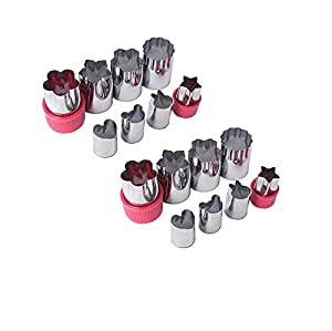 Stainless Steel Vegetable Cutter Shapes Set (16pcs) Vegetable Fruit Cookie Cutter Mold - Cute for Fun Food