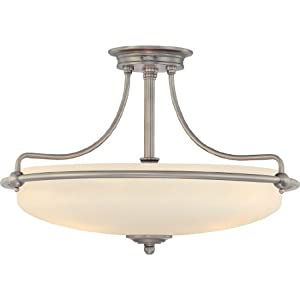 B00364FMIM Quoizel GF1721AN Griffin 4 Light 21-Inch Semi Flush Mount, Antique Nickel