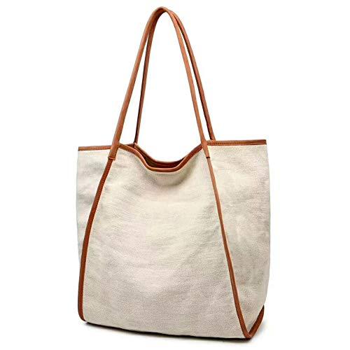 (Work Tote Bag for Women Extra Large Capacity Shopper Shoulder Bag Genuine Leather Canvas Handbag Beige)