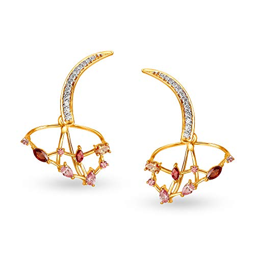 Mia by Tanishq 14KT Yellow Gold and Cubic Zirconia Stud Earring for Women