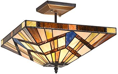 Capulina Handcrafted Tiffany Celing Light, Stained Glass Ceiling Light, 2-Light Mission Tiffany Semi Flush Mount, Tiffany Ceiling Fixtures