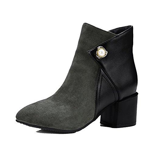 AllhqFashion Damen Gemischte Farbe PuMittler Absatz Spitz Zehe Stiefel, Grau, 39