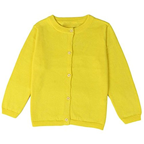 JELEUON Little Girls Cute Crew Neck Button-Down Solid Fine Knit Cardigan Sweaters 12-18 Months Yellow
