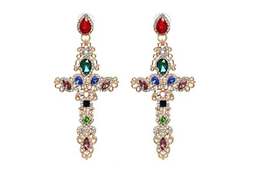 Boho Large Cross Earrings for Women Silver Tone (Golden with Colorful Rhinestones)
