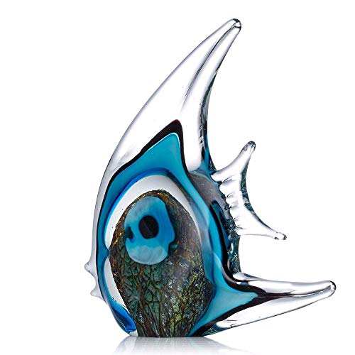 (YZDSBD Statues Figurines Sculptures Blue Stripe Tropical Crystal Fish Glass Sculpture Modern Art Favor Gift Artwork Home Decoration)