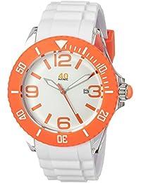 Unisex 40NINE02/ORANGE3 Large 45mm Analog Display Japanese Quartz White Watch