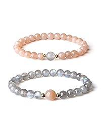 AmorWing Sunstone Labradorite Stone Sisters Bracelets