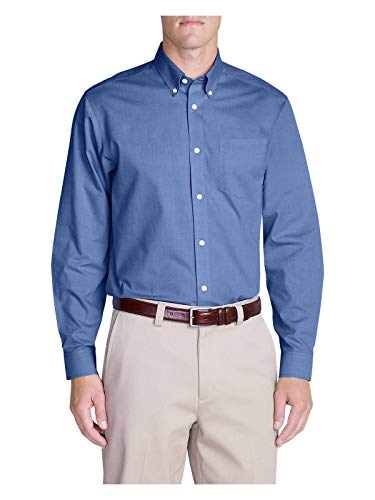 Oxford Relaxed Fit Oxford Shirt - Eddie Bauer Men's Wrinkle-Free Relaxed Fit Pinpoint Oxford Shirt - Solid Long-Sl