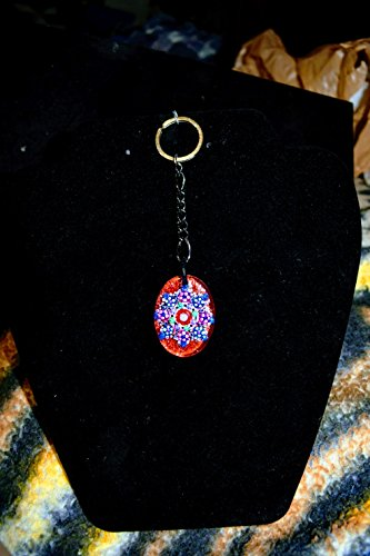 Oval Hand Painted Small Glass Red Keychain With Natural Wooden ()