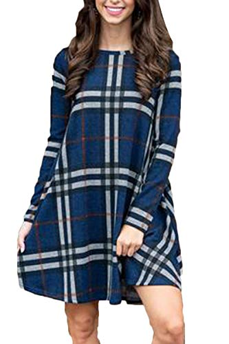 - BOOSOULY Plus Size Tartan Print Splicing Long Sleeve Pocket Tunic Dress for Women Navy Blue XL