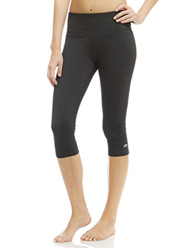 Marika Cotton Pants - Marika Women's Brooke High Rise Tummy Control Capri Leggings, Heathered Black, Large