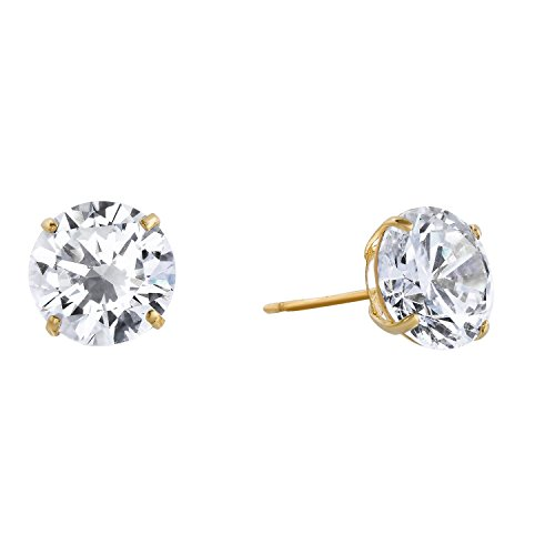 14k Yellow Gold Solitaire Round Cubic Zirconia CZ Stud Earrings with Gold butterfly Pushbacks (8mm)