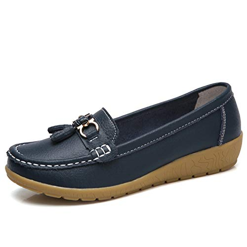 Women Flat Plus Size Women Genuine Leather Shoes Low Heels Women Loafers,Navy Blue,6