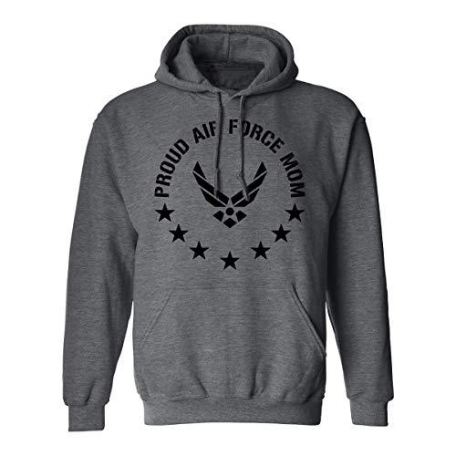 Proud Air Force Mom Hooded Sweatshirt in Dark Heather Gray - Medium