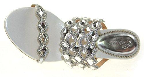 Abby AMN-T012 Womens New Fashion Wedding Bride Rhinestone Mid Heel Slip on Sandals Silvery yCTo2n7uQ