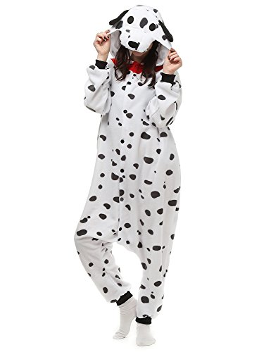 Dalmatian Dog Adult Onesie. Animal Pajama Costume for Teenagers, Women, Men (M/Large) White ()