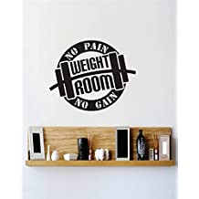Vinyl Wall Decal Sticker : No Pain No Gain Weight Room Image Quote Bedroom Bathroom Living Room Picture Art Peel & Stick Mural Size: 18 Inches X 18 Inches - 22 Colors Available